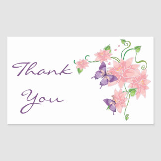 Thank You Pink Lilies Floral Butterfly Stickers
