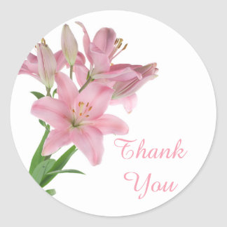 Thank You Pink Lily Floral Sticker / Seal