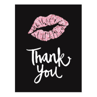 thank you pink lips on black postcard