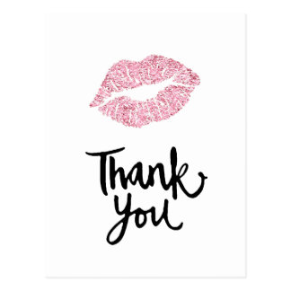 thank you pink lips postcard