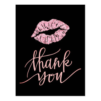 thank you pink lipstick kiss postcard
