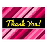 "[ Thumbnail: ""Thank You!"" + Pink/Magenta Stripes Pattern Postcard ]"