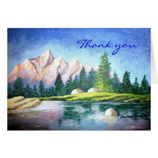 Thank you Pink Mountain Painting Note Card
