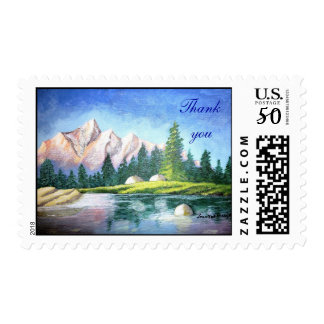 Thank You Pink Mountain Painting Stamp