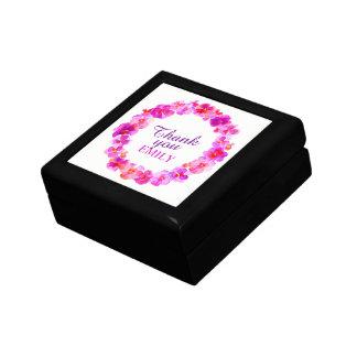 Thank you pink pansies wreath art gift box