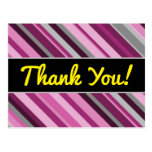 "[ Thumbnail: ""Thank You!"" + Pink/Purple/Grey Stripes Postcard ]"
