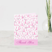 Thank You,Pink Ribbons-I Care!_ Thank You Card