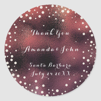 Thank You Pink Rose Burgundy Pearls Save The Date Classic Round Sticker
