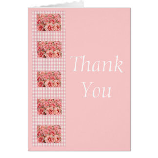 Thank You Pink Roses and Gingham Card