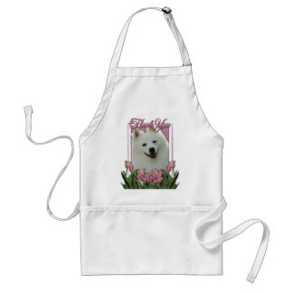 Thank You - Pink Tulips - American Eskimo Adult Apron