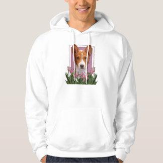 Thank You - Pink Tulips - Basenji Hooded Sweatshirt