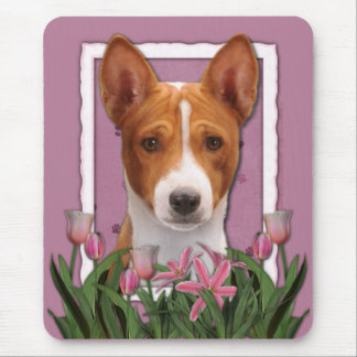 Thank You - Pink Tulips - Basenji Mouse Pad