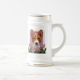 Thank You - Pink Tulips - Basenji Mug