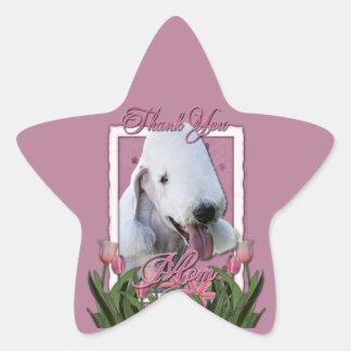 Thank You - Pink Tulips - Bedlington Terrier Star Sticker