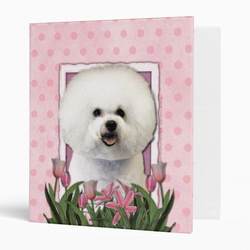Thank You - Pink Tulips - Bichon Frise 3 Ring Binders