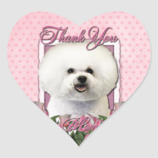 Thank You - Pink Tulips - Bichon Frise Heart Sticker