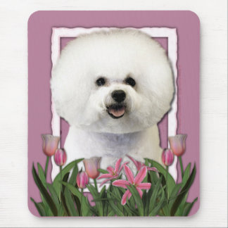 Thank You - Pink Tulips - Bichon Frise Mouse Pad