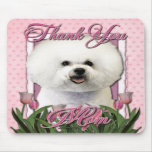 Thank You - Pink Tulips - Bichon Frise Mousepad