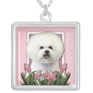 Thank You - Pink Tulips - Bichon Frise Necklace
