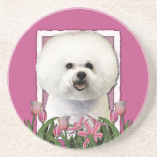 Thank You - Pink Tulips - Bichon Frise Sandstone Coaster