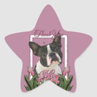 Thank You - Pink Tulips - Boston Terrier Star Sticker