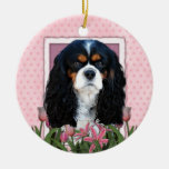 Thank You - Pink Tulips - Cavalier - Tri-Color Double-Sided Ceramic Round Christmas Ornament
