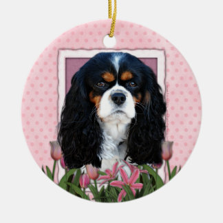 Thank You - Pink Tulips - Cavalier - Tri-Color Christmas Tree Ornament