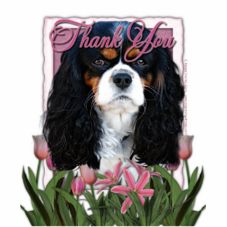 Thank You - Pink Tulips - Cavalier - Tri-Color Standing Photo Sculpture