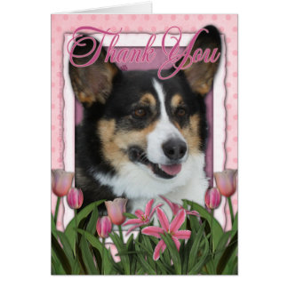 Thank You - Pink Tulips - Corgi Card