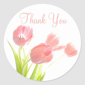 Thank You Pink Tulips Floral Pattern Stickers