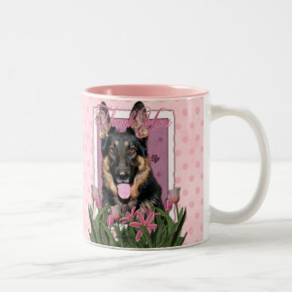 Thank You - Pink Tulips - German Shepherd - Kuno Two-Tone Coffee Mug