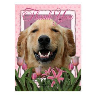 Thank You - Pink Tulips - Golden Retriever -Mickey Postcard