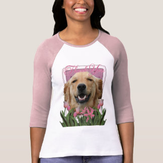 Thank You - Pink Tulips - Golden Retriever -Mickey T-shirt