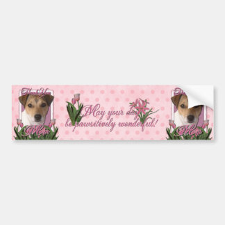 Thank You - Pink Tulips - Jack Russell Car Bumper Sticker