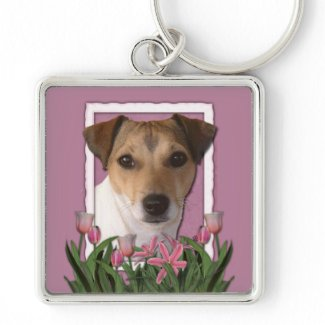 Thank You - Pink Tulips - Jack Russell keychain
