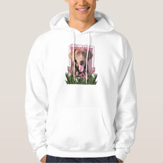 Thank You - Pink Tulips - Labrador - Chocolate Hooded Pullover
