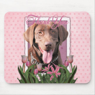 Thank You - Pink Tulips - Labrador - Chocolate Mouse Pad