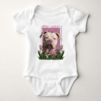 Thank You - Pink Tulips - Pitbull - Jersey Girl Baby Bodysuit