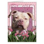 Thank You - Pink Tulips - Pitbull - Jersey Girl Greeting Card