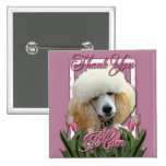 Thank You - Pink Tulips - Poodle - Apricot Button