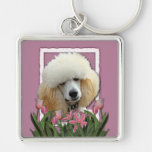 Thank You - Pink Tulips - Poodle - Apricot Keychains