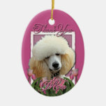 Thank You - Pink Tulips - Poodle - Apricot Double-Sided Oval Ceramic Christmas Ornament