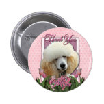 Thank You - Pink Tulips - Poodle - Apricot Pin