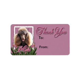 Thank You - Pink Tulips - Poodle - Chocolate Label