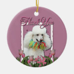 Thank You - Pink Tulips - Poodle - White Double-Sided Ceramic Round Christmas Ornament