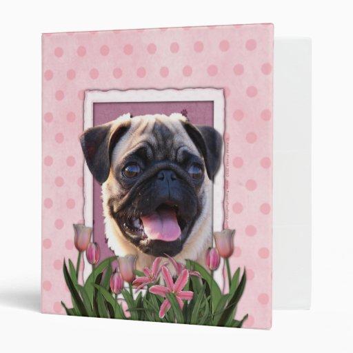 Thank You - Pink Tulips - Pug 3 Ring Binder