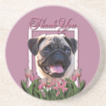 Thank You - Pink Tulips - Pug Beverage Coaster