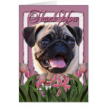Thank You - Pink Tulips - Pug Greeting Card
