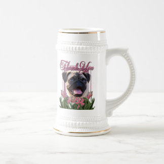 Thank You - Pink Tulips - Pug Mugs