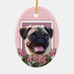 Thank You - Pink Tulips - Pug Christmas Tree Ornament